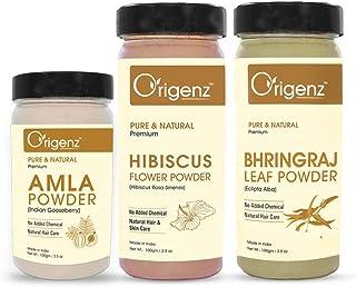 Origenz Premium Hair Care Combo (Amla Powder 100gm + Hibiscus Powder 100gm + Bhringraj Powder 100gm)