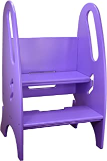 Little Partners Toddler & Adult Step Up Stool | 3-in-1 Adjustable Height Stepstool for Kitchen, Bathroom, or Nursery (Lilac)