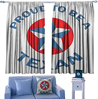 Mannwarehouse Texas Star Bedroom Windproof Curtain Proud to be a Texan Quote with Star Motif in Circle Patriotic Message Suitable for Bedroom Living Room Study, etc.72 Wx45 L Blue and Vermilion