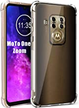Motorola Moto one Zoom Case HNHYGETE Moto One Pro/P40 Note Case Soft Clear TPU Transparent Reinforced Corners TPU Shock-Absorption Flexible Cell Phone Cover for Moto One Zoom(2019) 6.4