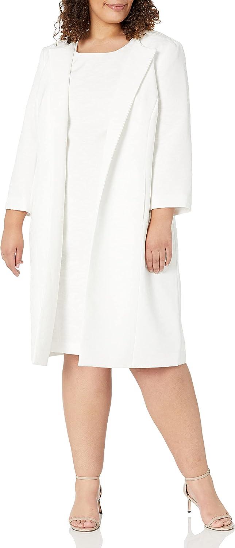 Le Suit Women's Plus Size Jacquard Topper and Matching Sheath Dress