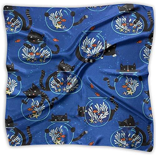Uridy Pañuelo cuadrado de satén Gato y pecera Seda como bandanas ligeras Pañuelo para la cabeza Chal cuello Pañuelo en la cabeza