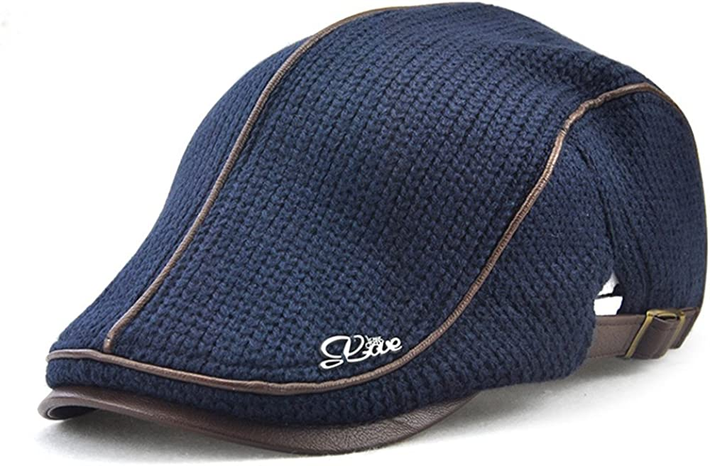 Men's Fresno Mall Newsboy Duckbill Ivy Flat Cap Hat Knitted Blue Warm New Shipping Free Scally