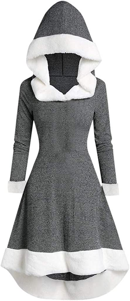 SHUBHU Women Sweater Long Sleeve Top Patchwork Hooded Vintage Dress Pullover Coat