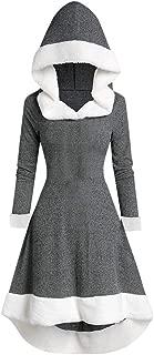 URIBAKE Womens Vintage Dress Winter Fashion Long Sleeve Plush Splice Hooded Evening Party Dress Christmas Blouse