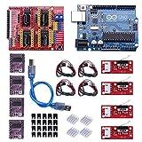 Kyrio Kit per stampante 3D CNC compatibile con ArduinoIDE, Longruner GRBL CNC Shield Board V3.0 + DRV8825 A4988 Driver motore passo-passo con dissipatore di calore