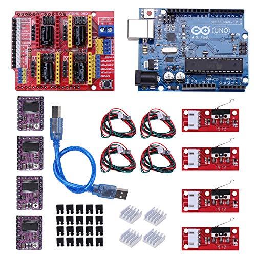 Kyrio Kit de impresora 3D CNC compatible con ArduinoIDE, Longruner GRBL CNC Shield Board V3.0 + DRV8825 A4988 controlador de motor paso a paso con disipador de calor