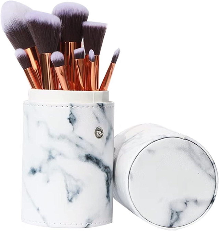 shandianniao Maquillaje de Pinceles Hembra Belleza Maquillaje Maquillaje Maquillaje Pincel de mármol Mezclado con Base Avanzada sintética de Sombras de Ojos en Polvo Facial (10 Piezas) (Color : A)