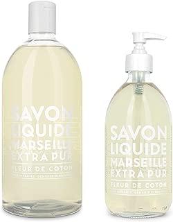 Compagnie de Provence Savon de Marseille Extra Pure Liquid Soap - Cotton Flower -16.9 Fl Oz Glass Pump Bottle and 33.8 fl oz Plastic Bottle Refill