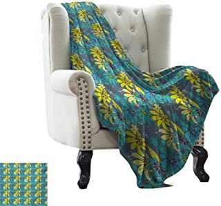 Cotton Blanket Yellow and Blue,Abstract Flowers with Hand Drawn Daisies and Leaves Exotic Bedding Plants,Multicolor for Bed & Couch Sofa Easy Care 35