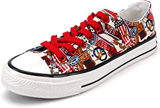 aogula Unisex Fashion Graffiti Sneakers with Flag Canvas Shoes Low Top Lace-up Cute Classic Casual Flat Walking Shoes for Men & Women