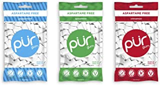 PUR 100% Xylitol Chewing Gum, Variety Pack, Peppermint Spearmint and Cinnamon, Sugar-Free + Aspartame Free, Vegan + Non GM...