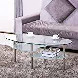 Yaheetech Round Oval Glass Top Coffee Table Center Table Sofa Side Cocktail Tables for Living Room Stainless Steel Legs Clear