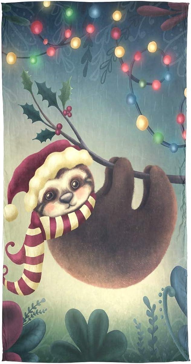 AUUXVA Fashion Scarf Merry Christmas Animal Sloth Santa Hat Long Lightweight Sunscreen Scarf Shawl Wrap Muffler Neckerchief for Women Men