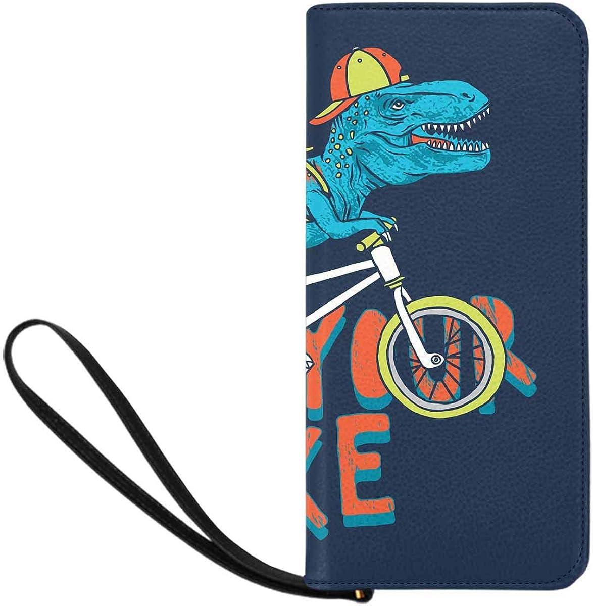 INTERESTPRINT Dinosaur and Bike Print Wristlet Wallet for Women with Wrist Strap