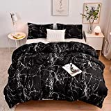 Lightweight Hotel Luxury Duvet Cover 3 Piece Set-Black and White Marble Ultra Soft Premium Microfiber Breathable Comforter Cover with Zipper Closure, Corner Ties Full/Queen (90x90 inches) …