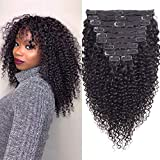 WENYU Kinky Curly Clip in Hair Extensions Human Hair For Black Women 8A Brazilian Real Remy Hair 3C 4A Kinkys Curly Human Hair Clip ins Natural Black Color 120g(16 Inch, Curly Clip in Hair Extensions)