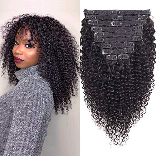 WENYU Kinky Curly Clip in Hair Extensions Human Hair For Black Women 8A Brazilian Real Remy Hair 3C 4A Kinkys Curly Human Hair Clip ins Natural Black Color 120g(14 Inch, Curly Clip in Hair Extensions)