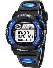 子供腕時計防水 デジタル表示 ledライト付き アラーム ストップウォッチ機能 12/24時刻切替え多機能スポーツ腕時計