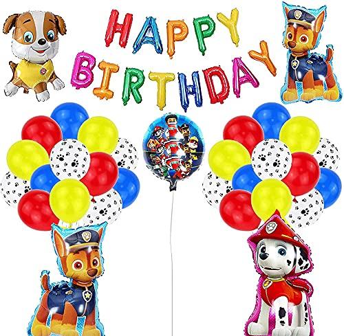 Cumpleaños Patrulla Canina,Paw Dog Patrol cumpleaños Pancarta, Balloons, Foil Balloons,for Kids Gift Fiesta de Cumpleaños Suministros Decoración