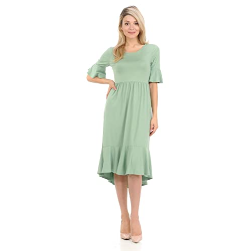 998d95473a035 iconic luxe Women's Premium Knit Cropped Bell Midi Dress