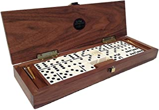 Alex Cramer Le Club Luxury Domino Set with Handcrafted Walnut Case and Cribbage / Counter Top - Tournament Quality 28 Indestructible (Domino Set with Personalized Brass Plate)