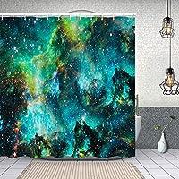 シャワーカーテンこの画像の宇宙要素の宇宙の無限の星のフィールドの小さな部分 防水 目隠し 速乾 高級 ポリエステル生地 遮像 浴室 バスカーテン お風呂カーテン 間仕切りリング付のシャワーカーテン 180 x 180cm