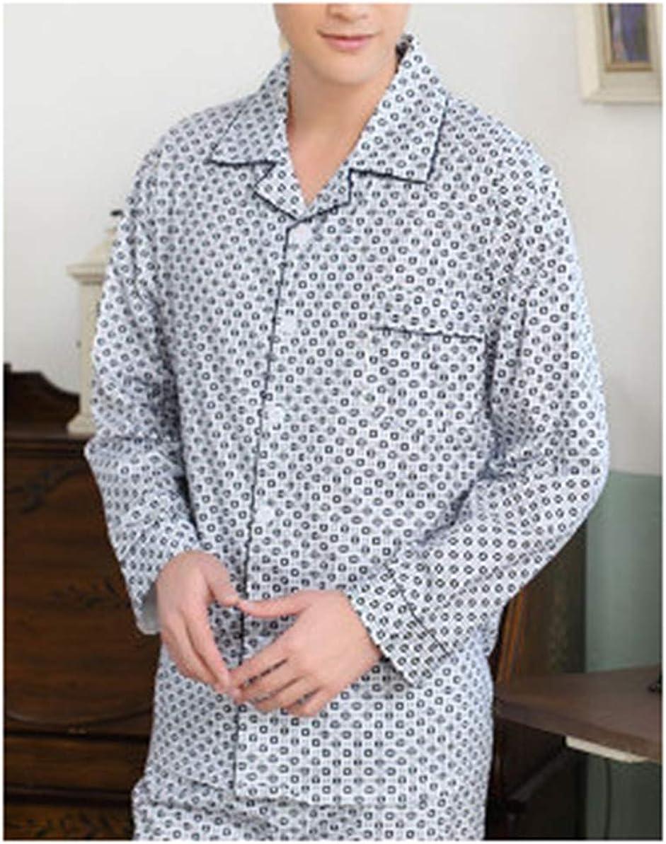 Femaroly Spring and Autumn Middle-Aged Dad Pajama Cotton Long Sleeve Men's Sleep Lounge Set Nightwear