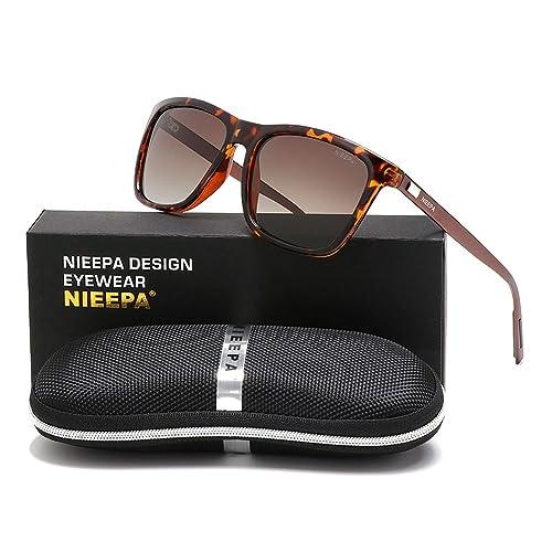 200164078b NIEEPA Rectangular Polarized Sunglasses AL-MG Temple Retro Driving Sun  Glasses
