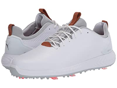 PUMA Golf Ignite PwrAdapt Leather 2.0 (Puma White/Puma White) Men