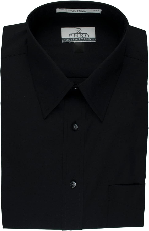 Enro Extra Full Body Stout Mens Big and Tall Black Short Sleeve Dress Shirt Damon
