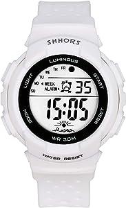 Lancardo Reloj Electrónico de Hombre Mujer Unisex Reloj Deportivo Correa de Plástico Dial Redondo Números Árabes Reloj Digital Multifunciones Impermeable de 3 ATM Reloj Colores Sólido con Despertador