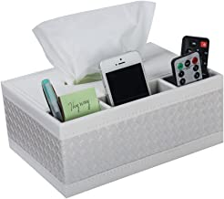 KISSTAKER Multifunction PU Leather Pen Pencil Remote Control Tissue Box Cover Holder Desk Storage Box Container for Home and Office Use (White)