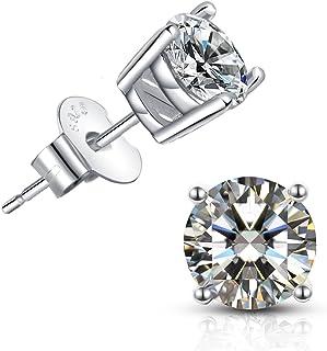 Brilliant Cut CZ stud earrings – 18K Gold Plated Stud Earrings For Women Men Ear Piercing Earrings Cubic Zirconia Inlaid,4...