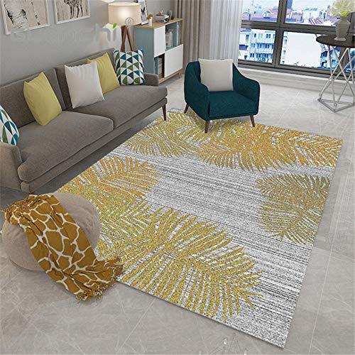 RUGMYW A Prueba De Humedad alfombras de Entrada Estampado de Hojas Blanco Gris Amarillo Alfombra Escritorio 80X160cm