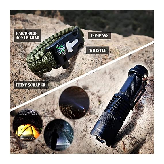 EVERLIT 250 Pieces Survival First Aid Kit IFAK Molle System Compatible Outdoor Gear Emergency Kits Trauma Bag for… 5 ✅【Exclusive 250 PCS First Aid Survival Kit Contained a Military Molle EMT Pouch】Uniquely customized by U.S military veterans, field tested by EX- Army Sergent, designed to get you well-prepared in an emergency situation. The kit combines 241 PCS First Aid Supply with 9 powerful Survival Gear into a Must-Have EDC emergency kit. ✅【Comprehensive First Aid Treatment Exceeds OSHA Guidelines For Single Family】The kit contains more than enough supply to treat a single family or a group of friends under emergency circumstances. Perfect for taking care of any medical or emergency needs during outdoor wilderness adventures such as camping, boy scouts, hiking, hunting and mountain biking, etc. ✅【Molle Compatible, Durable, Portable, and Water-Resistant】The military grade EMT bag was made from 1000D water-resistant nylon, it offers three large compartments and plenty of rooms to add your own gear. The overall dimension of the kit is 8'' x 6.5'' x 5'' and weight only 1.9 lbs. The molle compatible straps on the back allow the user to attach it to other bags or your belt, which made it a perfect companion for any outdoor activities.