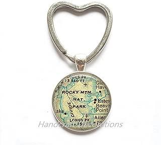 Charming Heart Keychain Rocky Mountain National Park map Heart Keychain, Rocky Mountain map Key Ring charm, map jewelry,A0097
