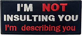 I'm Not Insulting You I'm Describing You Funny Badge Embroidered Biker Emblem Iron On Sew On Patch