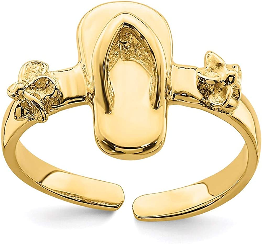 14k Yellow Gold Adjustable Flip-Flop and Flower Toe Ring