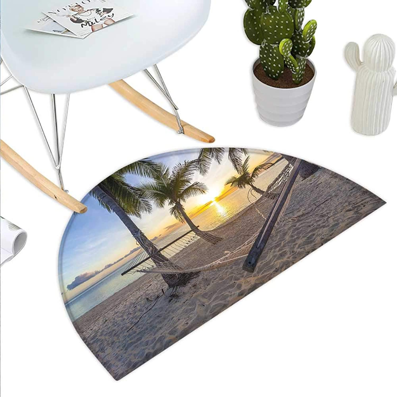 Tropical Half Round Door mats Paradise Beach with Hammock and Coconut Palm Trees Horizon Coast Vacation Scenery Bathroom Mat H 35.4  xD 53.1  Multicolor