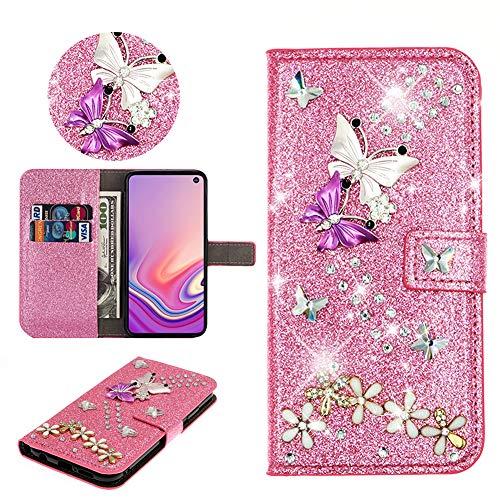 SEEYA Hülle Glitzer für Samsung Galaxy S20 FE, PU Leder Handyhülle Rosa Glänzend Schmetterling Blumen Klapphülle Magnet Brieftasche Schutzhülle Flip Cover Tasche für Samsung Galaxy S20 Lite