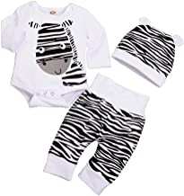 KimSoong Newborn Baby Boy Girl Clothes Funny Zebra Print Romper+Stripe Long Pants+Cute 3D Ears Hat 3pcs Outfits Set