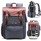 """Leather Camera Backpack Bag Professional DSLR/SLR Camera Backpack for Photographers Anti-Theft and Waterproof Large Capacity Camera Case with Fit 15.6"""" Laptop Compartment & Tripod Holder"""