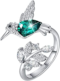 CDE Mothers Day Jewelry Gift Hummingbird S925 Sterling Silver Women Rings Embellished with Crystals from Swarovski Open Expandable Design Fit Size for 6-8 Fine Jewelry for Women