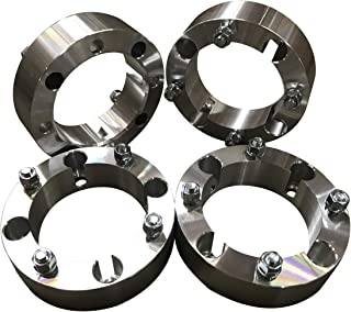 4x156 Wheel Spacers (2 Inches) 50.8mm (131mm bore, 12x1.5 Studs & Nuts) 4 Lug wheelspacer for Polaris Ranger, RZR, XP 1000, S 900, S 1000, ATV, UTV (Silver) (4 pieces)