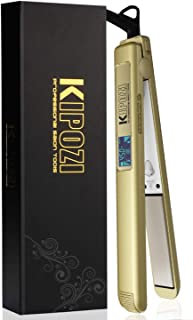 KIPOZI 1 Inch Pro Titanium Flat Iron for Hair, Dual Voltage Hair Straightener with 450F Salon High Heat, Anti Frizz Digital Hair Straightener, Gold
