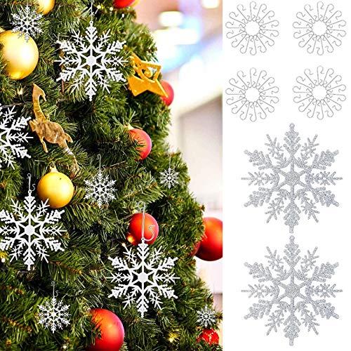 Hook 28Pcs Weihnachtsbaumschmuck Schneeflocken Deko, Weihnachtsbaum Deko Weiß Schmuk,Baumschmuck Weihnachten und 40 Pcs Kugelaufhänger S-Haken in Silber (3-4 cm)