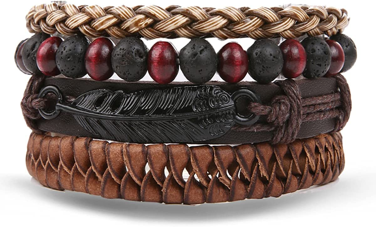WMYDYBD 4 Pieces High quality new San Francisco Mall of Multilayer Leather Bracelet Braided