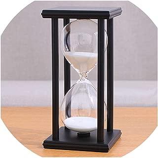Wooden Sandglass Sand Hourglass 45/60 Minute 20.51010 Countdown Timer Clock Xmas Birthday Gift Home Decoration Reloj De Arena,Black white sand,60mins