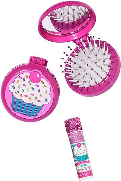 3C4G Cupcake Folding Brush Mirror Set With Bonus Lip Balm